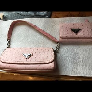 Leather clutch purse / matching wallet light pink